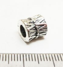 Large Hole Tibetan Silver bead. 9x9mm with 4.5mm hole.